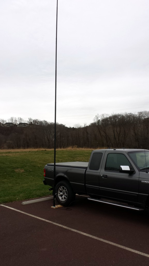 My vertical antenna. 29.5-foot radiator fed through a 4:1 unun with two 29.5-foot radials.