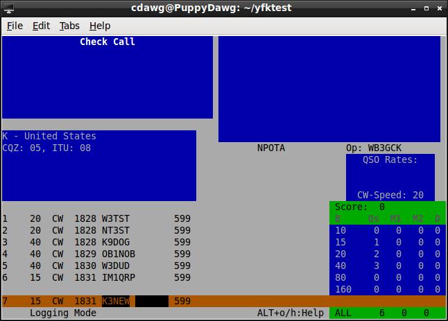 YFKtest main entry screen