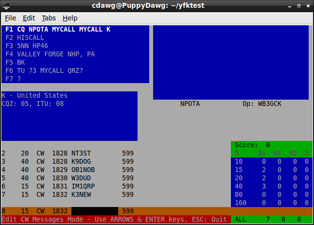 YFKtest screenshot showing my custom CW messages