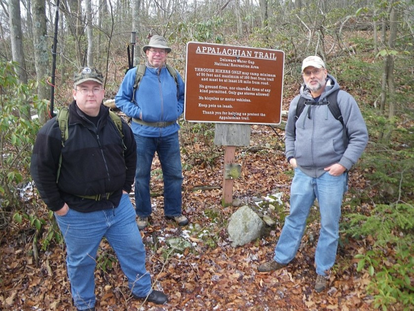 Hiking to Catfish Fire Tower. L-R: KB3SBC, NK1N, WB3GCK. (Photo by WA3WSJ)