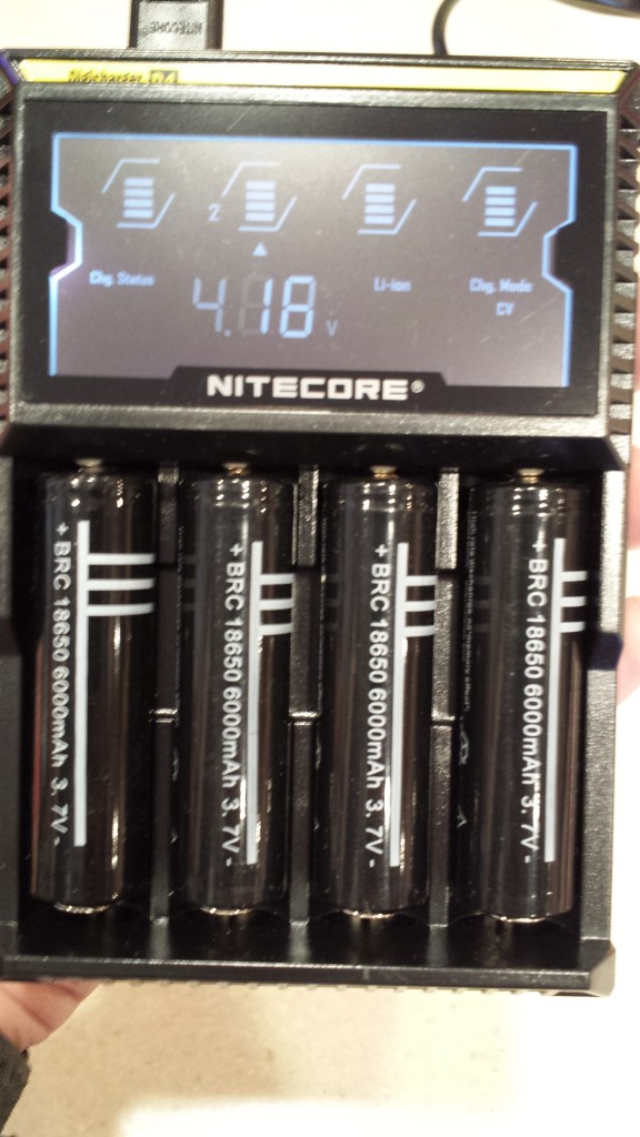 Nitecore D4 smart charger. Each cell is charged independently.