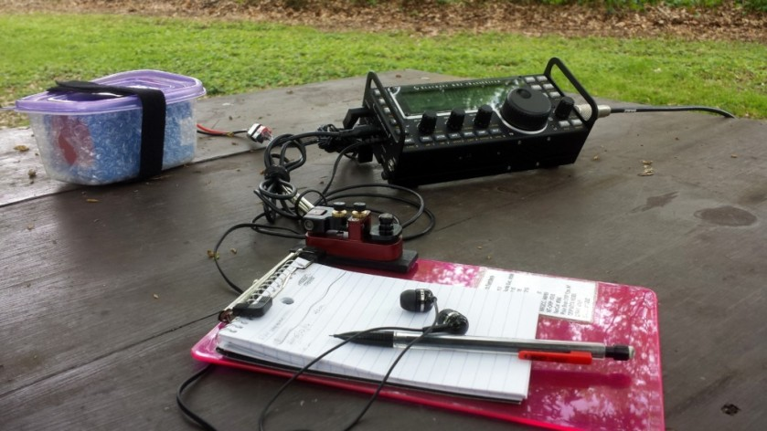 My setup at Upper Schuylkill Valley Park. The food storage container is holding a 6 A-H LiFePO4 battery.