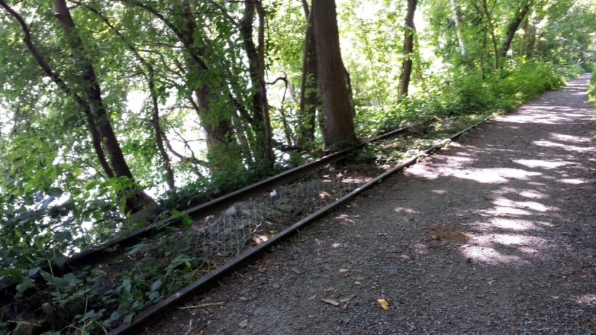 Remnants of the old railway along the Lower Susquehanna Heritage Greenway Trail. The railway was used to transport materials when the Conowingo Dam was under construction.