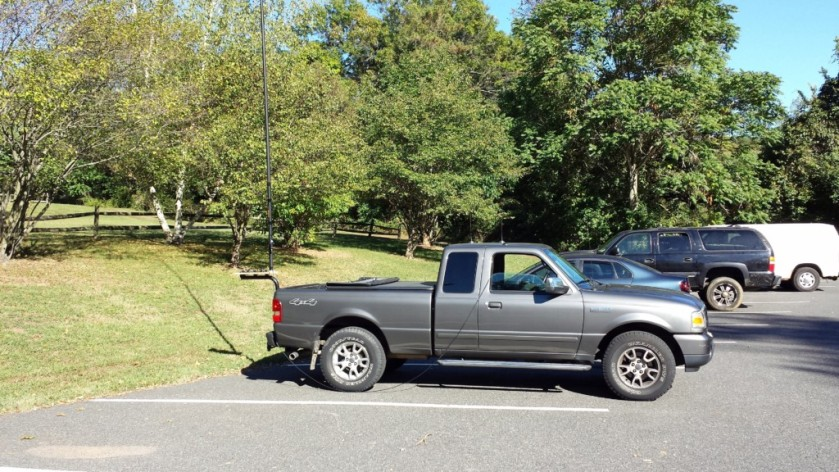 "My ""stationary-mobile"" setup at the Upper Schuylkill Valley Park. The Jackite pole is mounted on the rear of the truck."