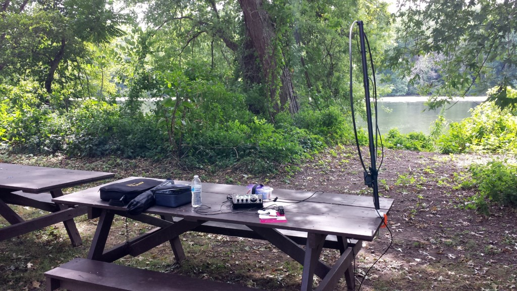 My set-up along the Schuylkill River in Upper Schuylkill Valley Park.