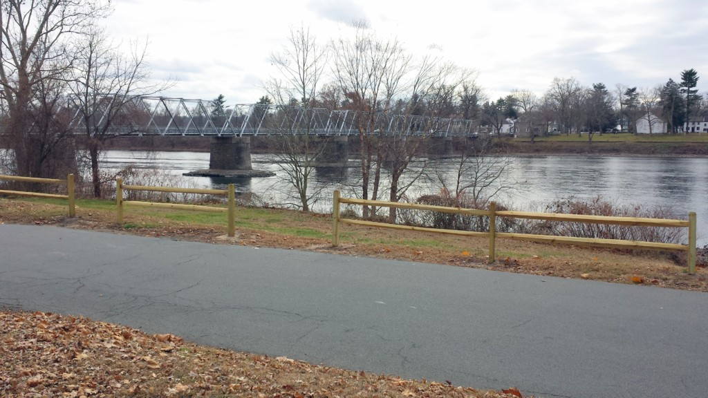 Washington's Crossing, looking from the New Jersey side. The bridge is barely wide enough for two-way traffic.
