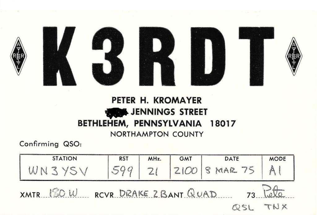 QSL card from my first ham radio contact with K3RDT.