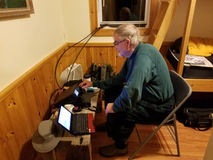 ED K3YTR working the VHF contest from the cabin.