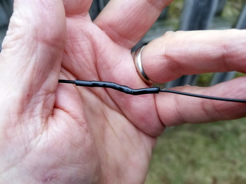 The Splice of Shame. This is the splice I had to put onto my LNR EFT-10/20/40 EFHW antenna to correct my pruning error.