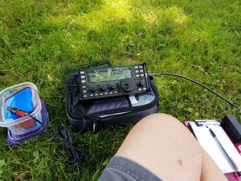 My set up at Lower Perkiomen Valley Park. If you look closely at the S-meter in the upper right of the display, you can see the horrendous noise level on 40 meters.