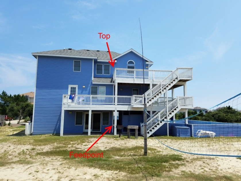 "This is a view of the rear of the house showing how I supported my inverted L. The wire ran up the side of the deck and out to the Jackite pole strapped to the volley ball net. The last 6 feet or so ran down the Jackite pole. So, technically, it was more of an inverted ""J"" than an ""L."""