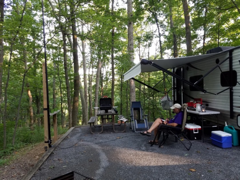 Operating from our campsite in Cunningham Falls State Park in Thurmont, Maryland. My 31-foot Jackite pole is strapped to the lantern post on the left.