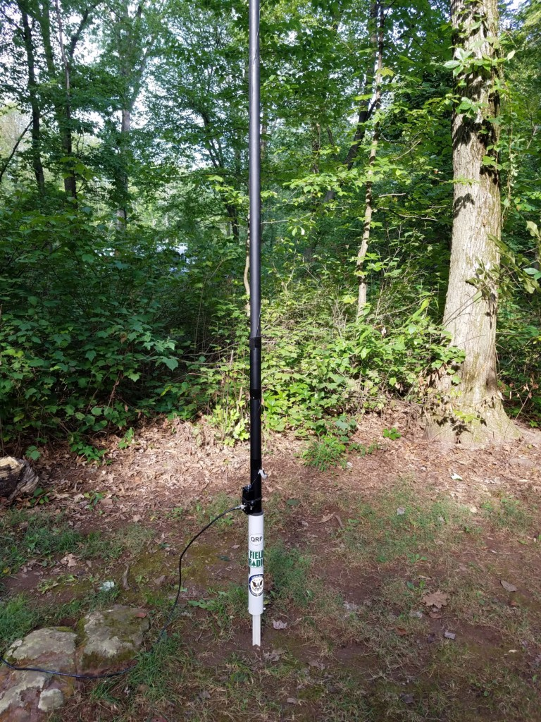 My trusty 29.5-foot wire vertical. It's supported by a 31-foot Jackite pole and fed with a homebrew 9:1 unun.