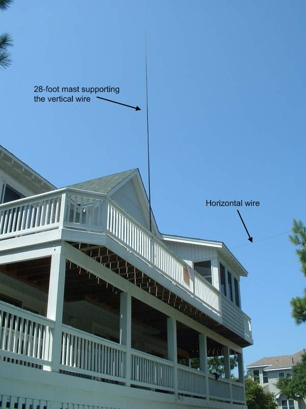 "The ""Up and Outer"" antenna mounted on a 3rd-story deck in Corolla, North Carolina."