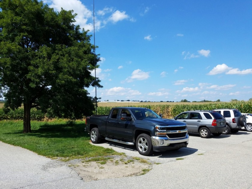 My location at Norristown Farm Park. You can see the corn fields behind my truck.