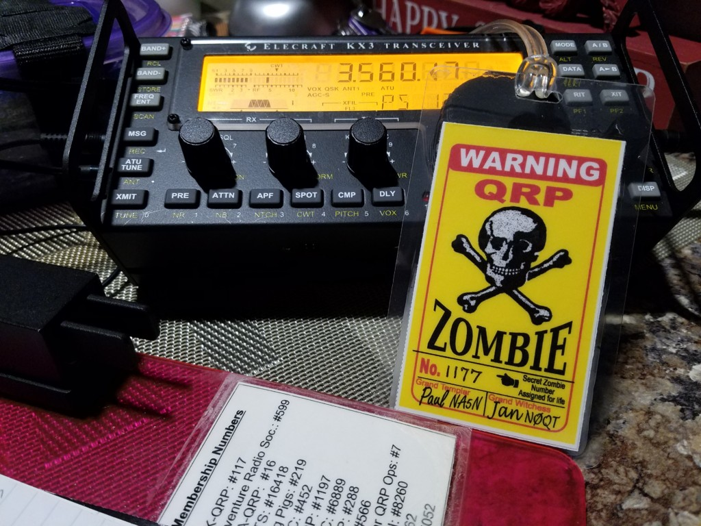 My official QRP Zombie credentials.