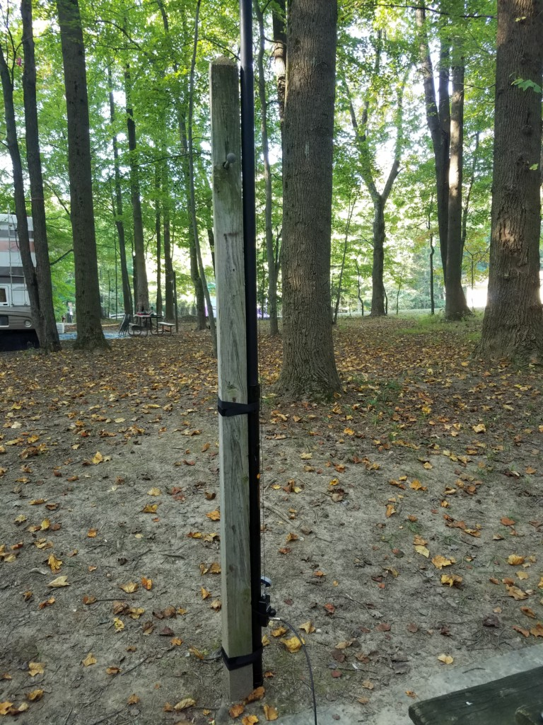 Some state parks provide lantern hanging posts that make great antenna supports. These are pretty common in Maryland state parks.