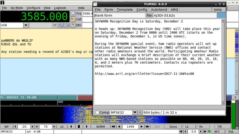 Message traffic sent on the paNBEMS Net. K3EUI relayed the message original transmitted by AJ3DI.