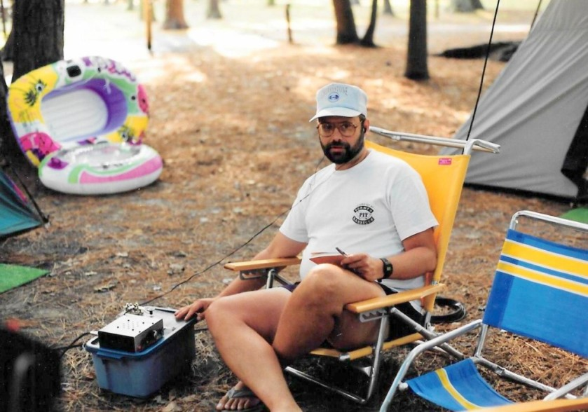 WB3GCK operating QRP-portable for the first time back in August 1993 at a campground on the Eastern Shore of Virginia