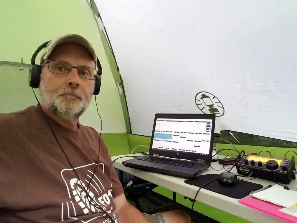 WB3GCK operating CW from my tent during W3BQC Field Day 2018
