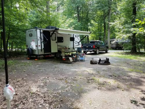 "The WB3GCK ""QRP Camper"" at French Creek State Park near Elverson, Pennsylvania. The Jackite pole supporting my 29-foot vertical wire can be seen on the right in the photo."