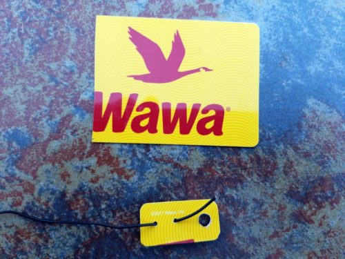 The end insulator and the gift card from which it was cut. (Disclaimer: I have no financial interest in the Wawa company, except that I have consumed untold quantities of their coffee over the years.)