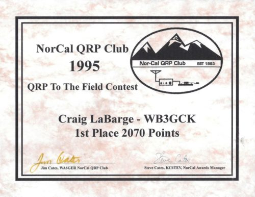 My 1st place certificate from the first-ever running of the QRP to the Field Contest in 1995