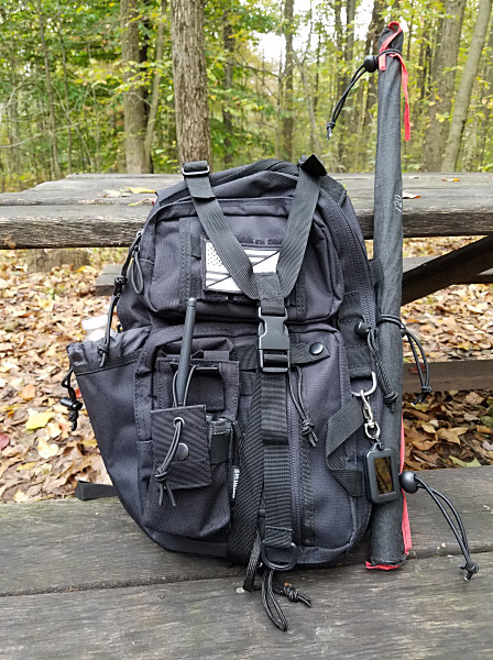 My Red Rock Rambler sling pack. My 19-ft fiberglass pole is attached to MOLLE webbing on the side of the pack. The HT pouch I added is on the lower left of the pack.