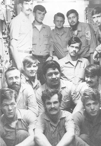 Radio gang aboard the USS LaMoure County (LST-1194) in 1974. I'm standing in the back, second from the right (with my eyes closed).