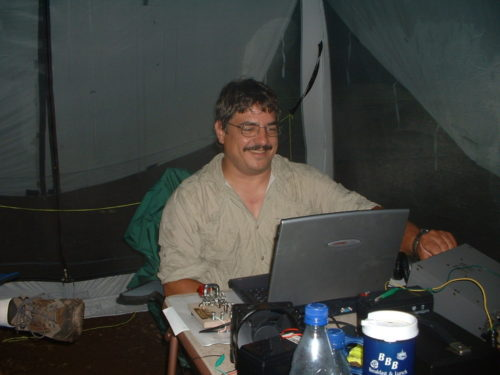 Ron WB3AAL operating CW at the EPA-QRP Field Day in 2006