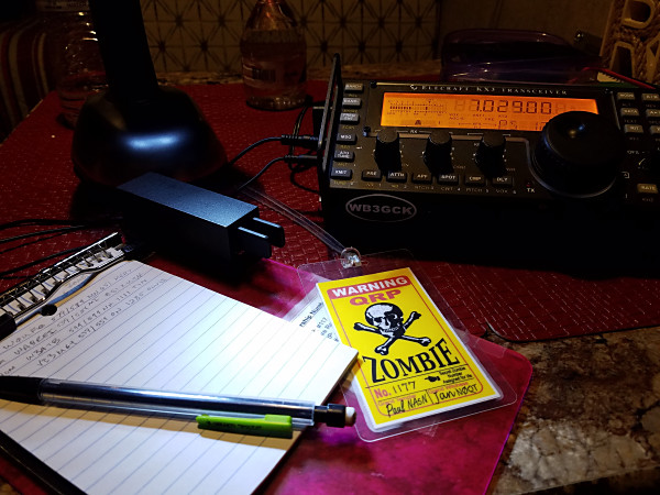 My Zombie Shuffle operating position inside the WB3GCK QRP Camper