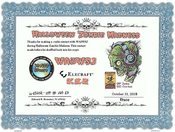 WA3WSJ Zombie Shuffle Certificate