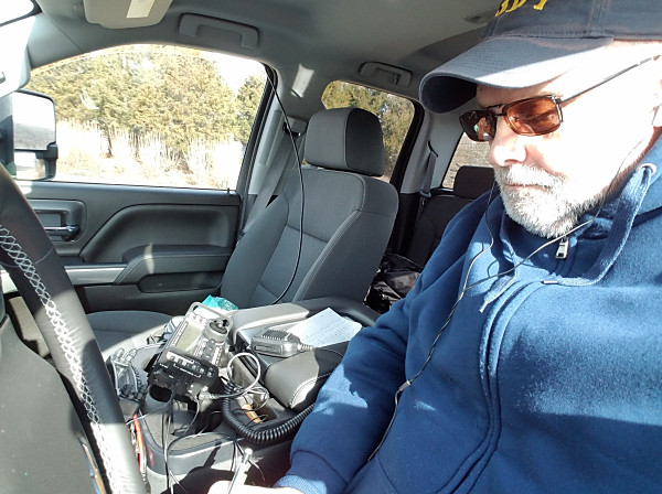 WB3GCK operating in Winter Field Day 2019. If you look closely, you can see a microphone connected to my KX3. Yep. I actually made some SSB contacts.
