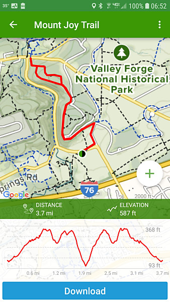 AllTrails map display. You can zoom in and navigate around the map to see a detailed view. With the paid version, you can save maps to your device for offline use.