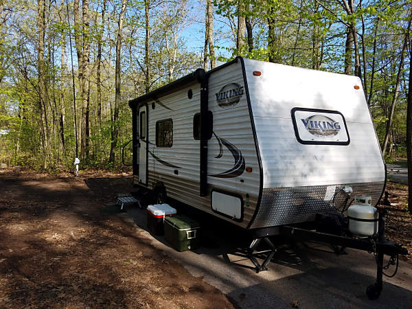 The WB3GCK QRP Camper at French Creek State Park. If you look closely, you can see my vertical antenna back along the tree line.