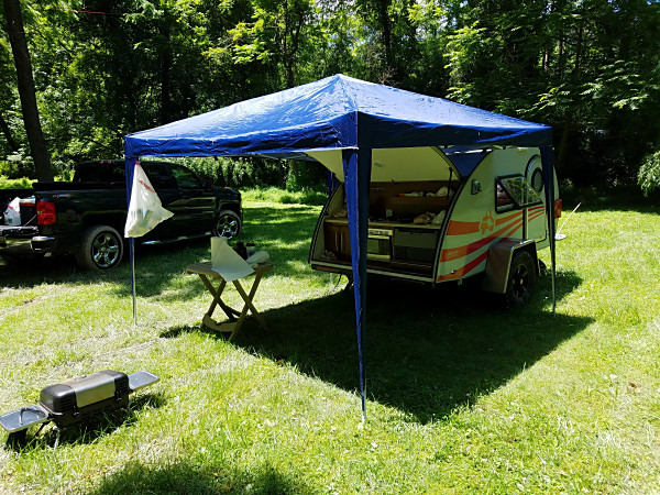 The kitchen area of K3YTR's teardrop camper