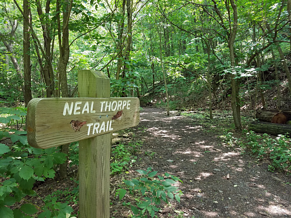 Entrance to the Neal Thorpe Trail near the Schuylkill Canal Lock 60