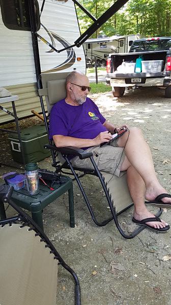 WB3GCK operating outside the camper at Elk Neck State Park in Maryland
