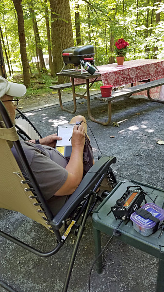 WB3GCK working hard (or hardly working) during the SKCC WES contest from Cunningham Falls State Park in Maryland