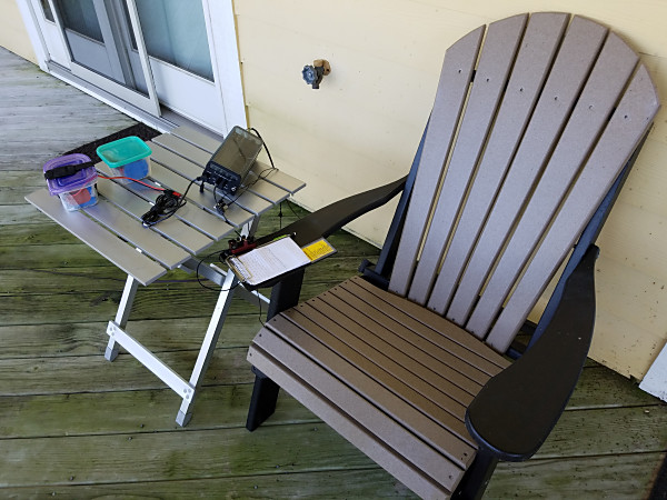My outdoor shack for the week. The chair was particularly comfortable and the view of Currituck Sound was great.