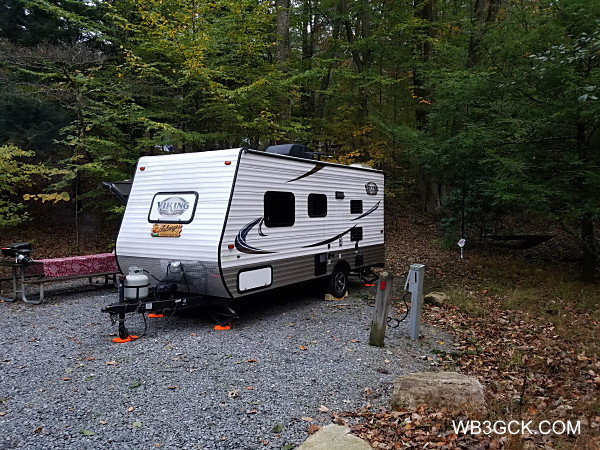 """The WB3GCK """"QRP Camper"""" at Colonel Denning State Park. My antenna is that white object to the rear of the camper."""