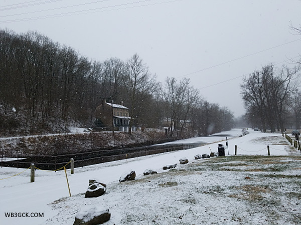 Schuylkill Canal Park in Mont Clare, Pennsylvania. The Locktender's House is on the left.