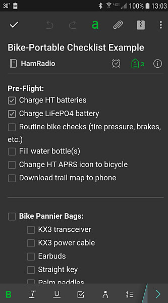 A portion of a checklist as it looks in the Evernote app on my cellphone