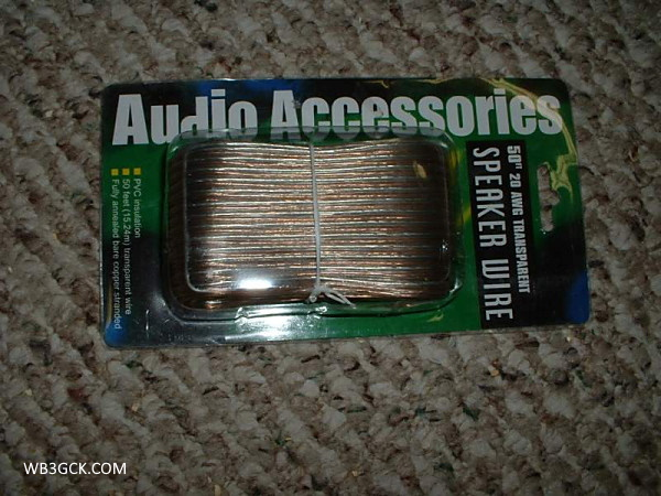 This is the 20 AWG speaker wire I used. Sadly, my local dollar store no longer carries it. I wish I had bought a ton of it while it was available.