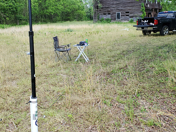 My setup out in what had been a cornfield. The old barn in the background is slated to be replaced later this year.
