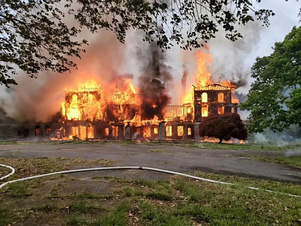 The fire at the former Bainbridge U.S. Naval Training Center in Port Deposit, Maryland. I don't recognize the building in this picture. (Photo: Maryland State Fire Marshal/ Facebook)
