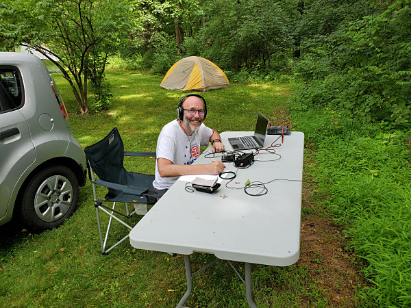 NU3E operating CW. This was John's first Field Day with the Boschveldt QRP Club.
