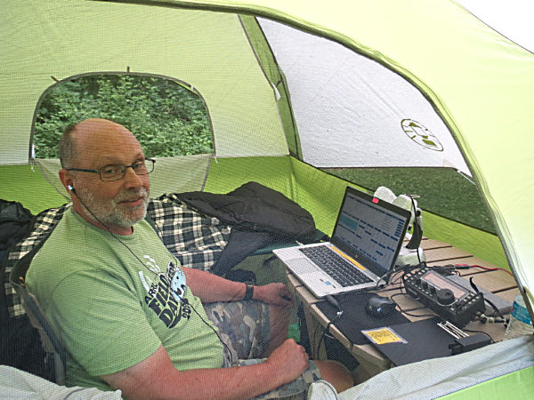 Yours truly, WB3GCK, operating CW from my tent. (Photo by WA3WSJ)