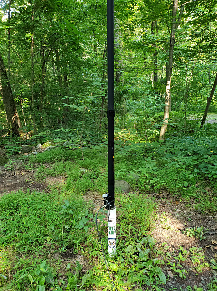 My trusty Jackite pole supporting a 29.5-foot wire vertical and a 9:1 unun