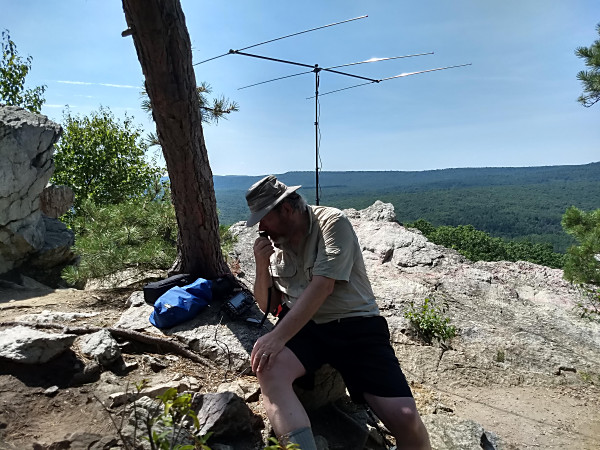 NK1N operating in the CQ Worldwide VHF Contest from the Pole Steeple Trail. (Photo by NU3E)
